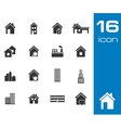 black building icons set on white background vector image
