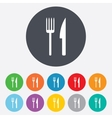 Eat sign icon Cutlery symbol Fork and knife vector image