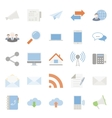 Comunication and web color flat icons set vector image
