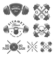 Set of vintage gym emblems and design elements