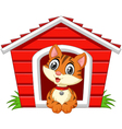 Smiling cat in his doghouse vector image
