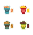 Set of paper stickers on a white background snack vector image