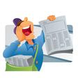 paper boy selling newspaper vector image vector image