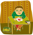 boy drawing table room vector image vector image