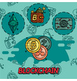 blockchain flat concept icons vector image