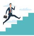 Businessman running up ladder of success Career vector image