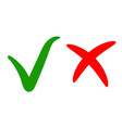 green check markapproval right choice red cross vector image