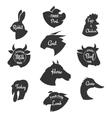 Heads of farm animals icons set Butchery vector image