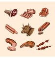 Sketch meat icons vector image