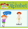 Flashcard letter N is for naked vector image