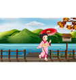 A girl with an umbrella beside the wooden mailbox vector image