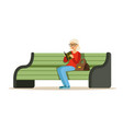 beautiful senior woman sitting on a wooden bench vector image