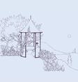 girl in arbor in the garden vector image