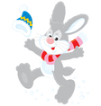 Bunny with a cap and scarf vector image vector image