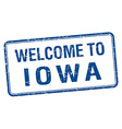 welcome to Iowa blue grunge square stamp vector image