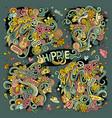 colorful set of hippie doodles designs vector image