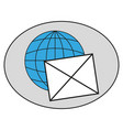 envelope on the globe icon vector image