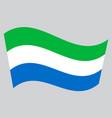 flag of sierra leone waving on gray background vector image