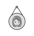 grayscale tag decoration element with girl head vector image