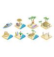 isometric summer beach elements set vector image