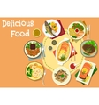 Lunch menu icon with meat and fish dishes vector image