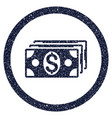 dollar banknotes rounded grainy icon vector image