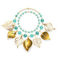 Necklace of Golden Leaves vector image