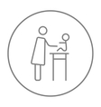 Woman taking care of baby line icon vector image