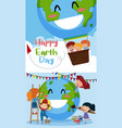 happy earth day poster with kids on earth vector image