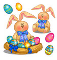 plush bunny with blue bow with colored easter eggs vector image