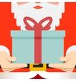 Santa Claus hold hands gift present beard belt vector image