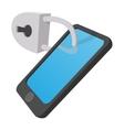 Smartphone with lock cartoon icon vector image