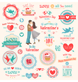 valentine labels vector image