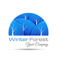 Winter forest icon with round shadow logo design vector image