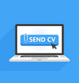 laptop computer with resume template send cv vector image