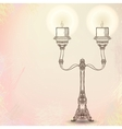 candlestick with two stems on watercolor vector image