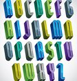 3d colorful letters tall alphabet made with round vector image vector image