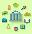 Flat icons of financial and business items vector image