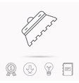 Trowel for tile icon Spatula repair tool sign vector image