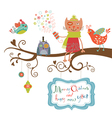 Christmas card cat and birds vector image