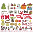 Christmas decoration kitColored Doodles vector image