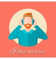 Man Listening Music vector image