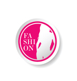 sticker of fashion girl silhouette in pink vector image