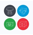 Corner sofa table and nightstand icons vector image