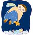 boy fly sleep vector image vector image