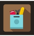 Grocery bag with food icon flat style vector image