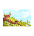 agricultural farm with fields and livestock vector image
