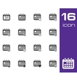 black Calendar Icons on white background vector image