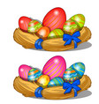 easter eggs with pattern in straw decorations vector image
