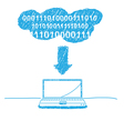 handwriting sketch cloud computing vector image